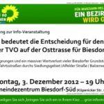 Einladung zur Informationsveranstaltung zu den Planungen für die TVO und den drohenden Enteignungen sowie zusätzlichen Lärmbelastungen im Biesdorfer Siedlungsgebiet
